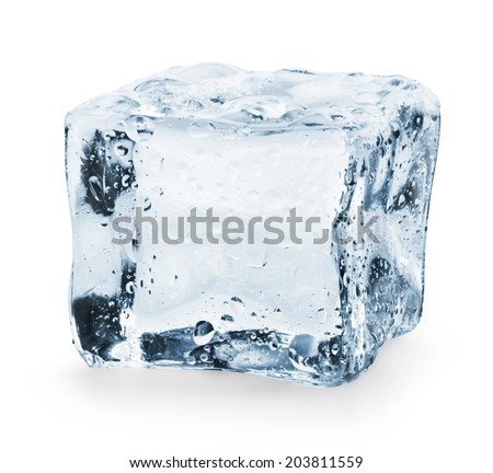 Ice cube on a white background. Clipping Path - stock photo