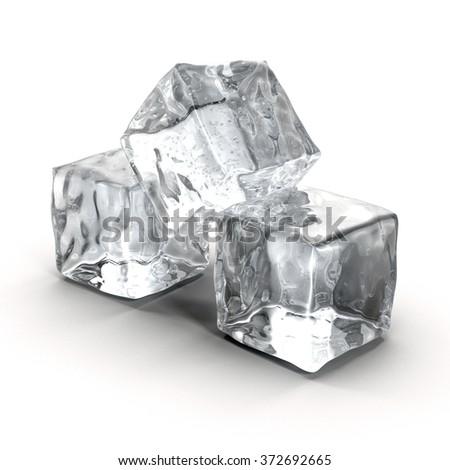 Ice Cube on White Background - stock photo