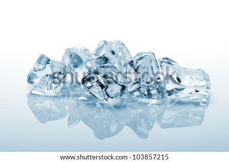 ice cube on white background with reflection - stock photo