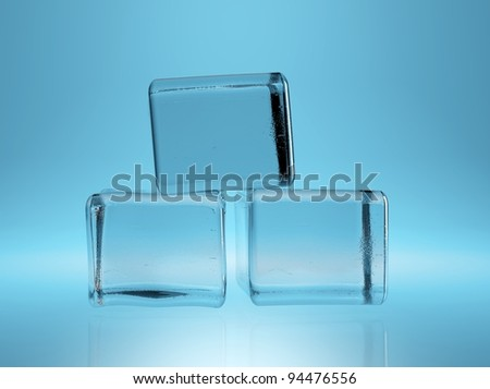 ice cube(with ALPHA CHANEL) on blue background - stock photo