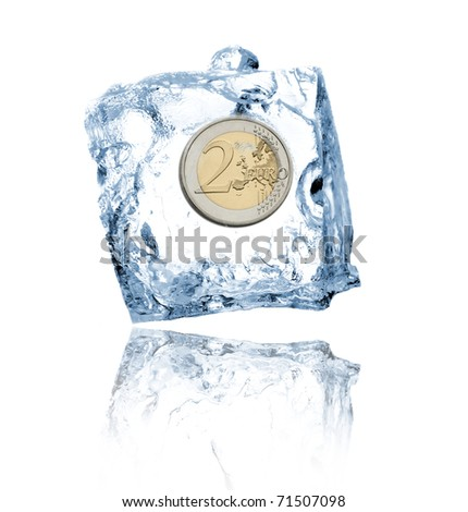 Ice cube with euro coin - stock photo