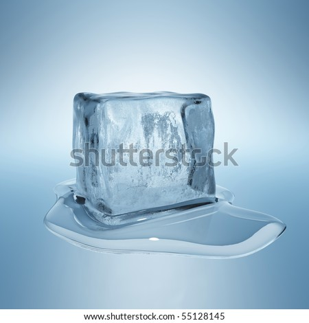 Ice cube with water drop - stock photo
