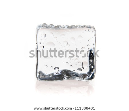 Ice cube with water drops isolated on white - stock photo