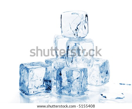 ice cubes against white background
