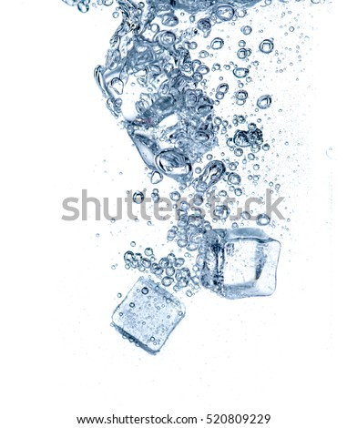 ice cubes and bubbles in water