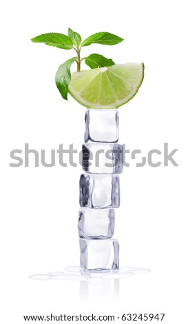 Ice cubes and mint leaves on a white background and with soft shadow.
