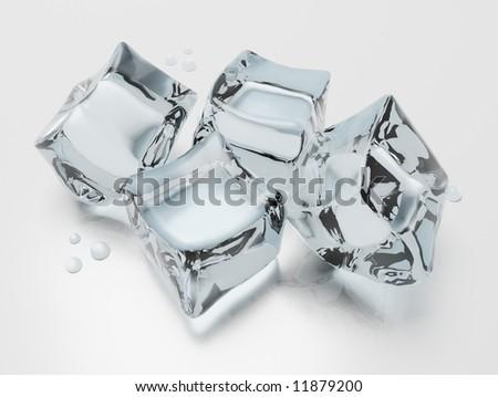 ice cubes background - stock photo