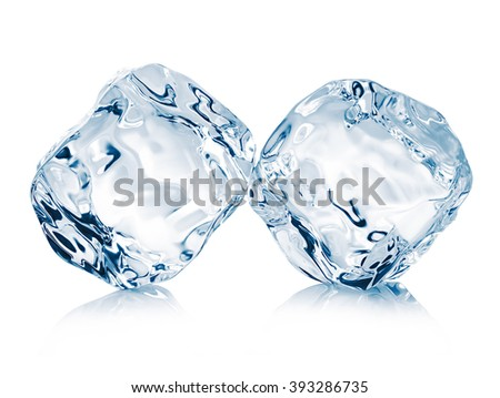 Ice cubes close-up isolated on white background. Clipping pats. - stock photo