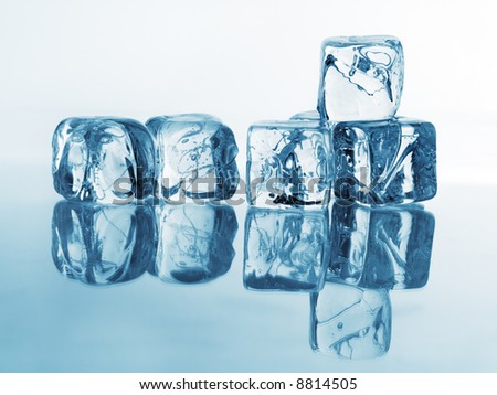 Ice cubes. Cold blue lighting.