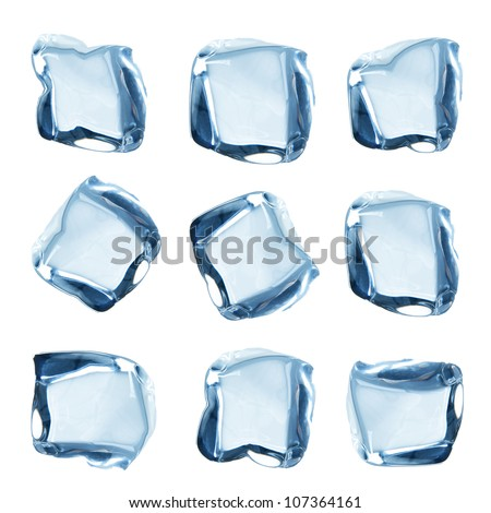 Ice cubes collection over white - stock photo