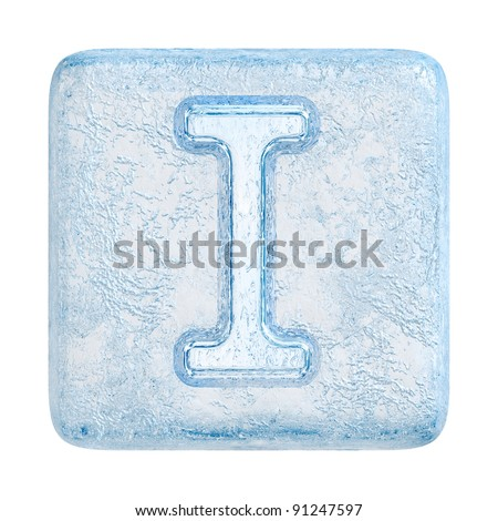Ice cubes Font. Letter I - stock photo