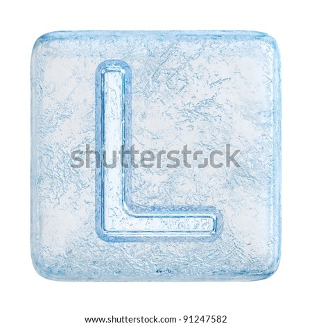 Ice cubes Font. Letter L - stock photo