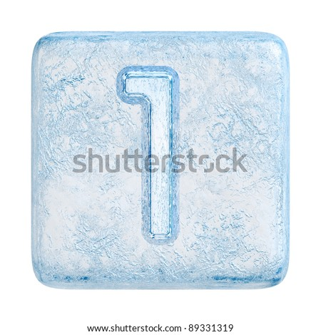 Ice cubes Font. Number 1 - stock photo