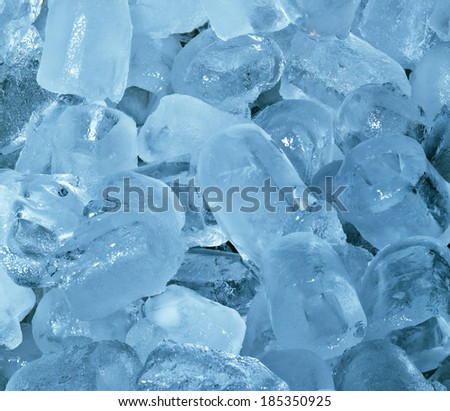 Ice Cubes Frosty Cyan Cold Background - stock photo