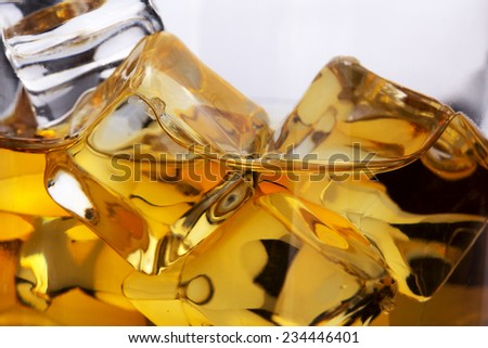 Ice cubes in a whsky - stock photo