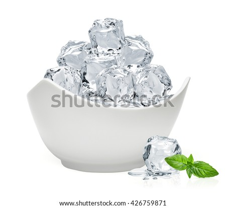 Ice cubes in bowl with basil leaf isolated on white background - stock photo