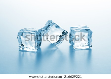 Ice cubes in the winter