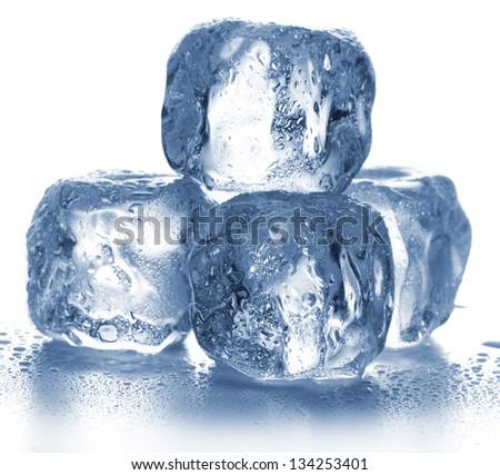 Ice cubes isolated on white. - stock photo