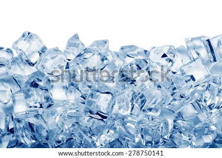 Ice cubes isolated on white background - stock photo