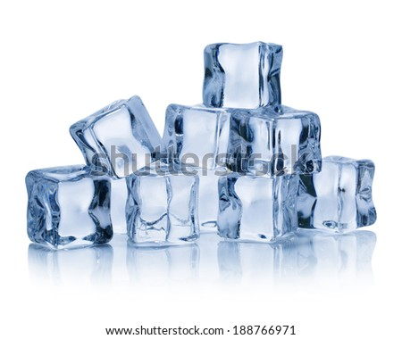 Ice cubes isolated on white background. Clipping Path  - stock photo