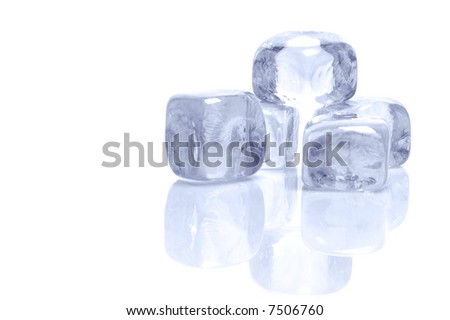 Ice cubes on a white background.