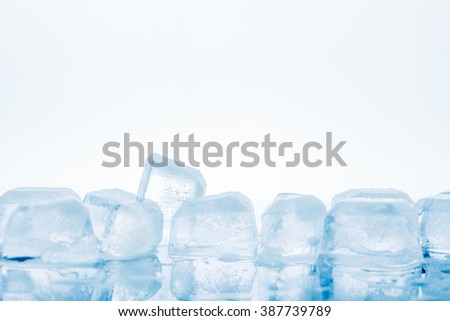 Ice cubes on a white background. studio shot - stock photo
