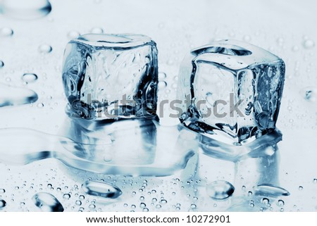 ice cubes on water - stock photo