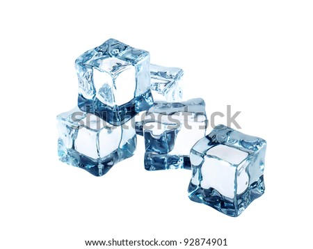 ice cubes on white - stock photo