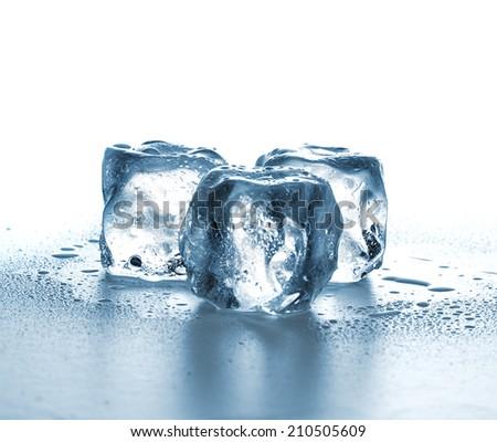 ice cubes on white background. - stock photo