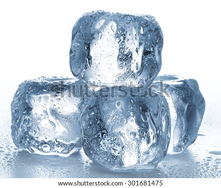 Ice cubes on white background. - stock photo