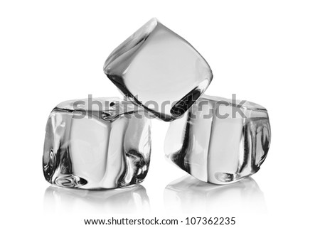 Ice cubes over white - stock photo