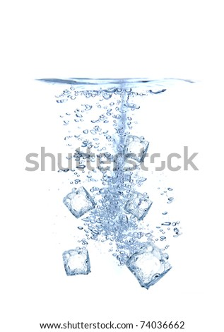 Ice cubes splashing