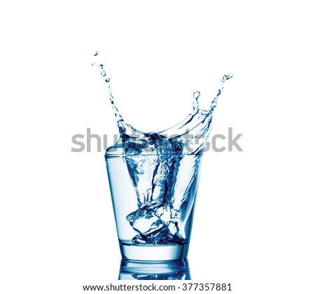 Ice cubes splashing into glass of water, isolated on white.
