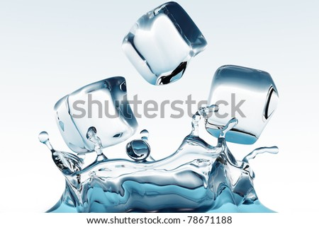 ice cubes splashing into the water - stock photo