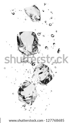 Ice cubes with bubbles, isolated on white background - stock photo