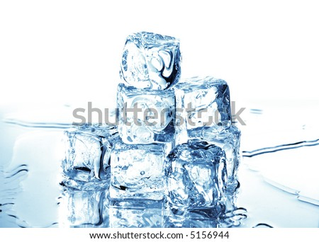 ice cubes with cold blue light