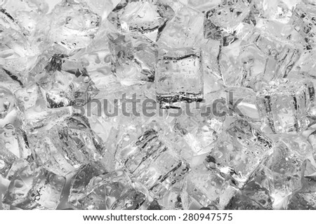Ice cubes with drops, close up - stock photo