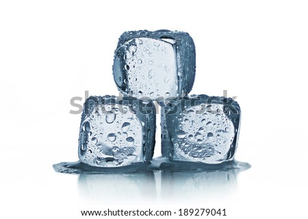 ice cubes with reflection - stock photo