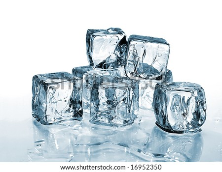 ice cubes with reflection against white background