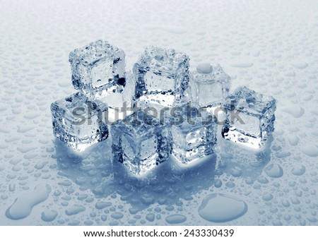 Ice cubes with water drops, close-up - stock photo