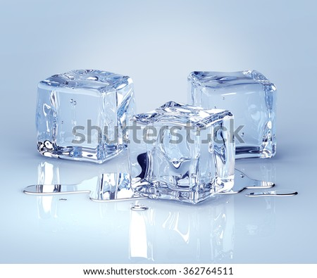 Ice cubes with water drops on a light background. 3d render - stock photo