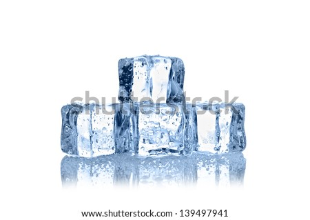 ice cubes with water drops on white background - stock photo