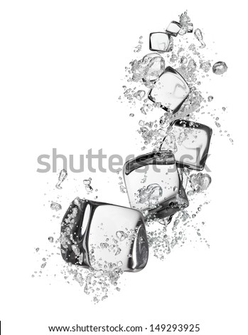 Ice cubes with water, isolated on white background - stock photo