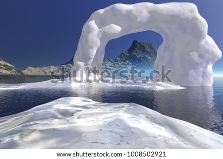 Ice, 3D rendering, a polar landscape, frozen waters, mountain in the background and a blue sky.