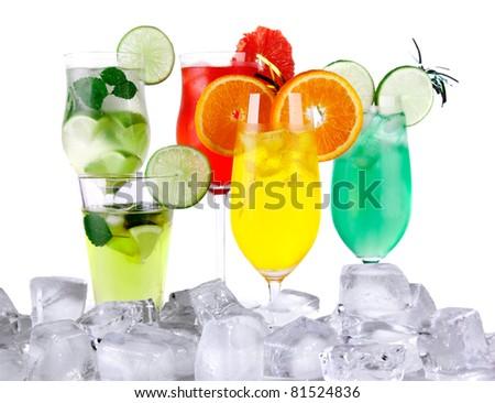 Ice drinks isolated on white background - stock photo