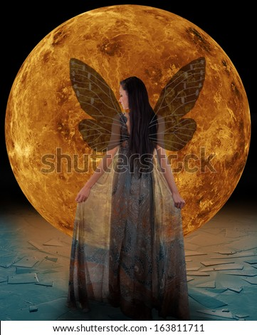 Ice fairy in front of a Venus. Elements of this image furnished by NASA. - stock photo