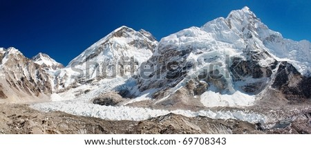 ice-fall khumbu from everest b.c. - stock photo
