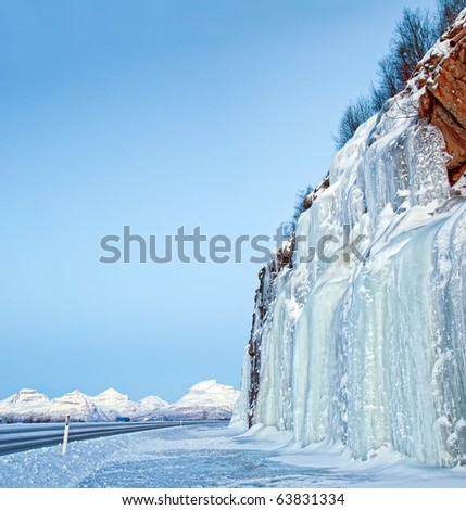 Ice Falls. In the background of the mountain. Norway - stock photo