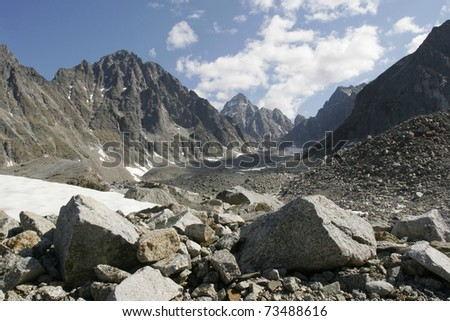 Ice field in the Transbaikalia mountains. Russia - stock photo