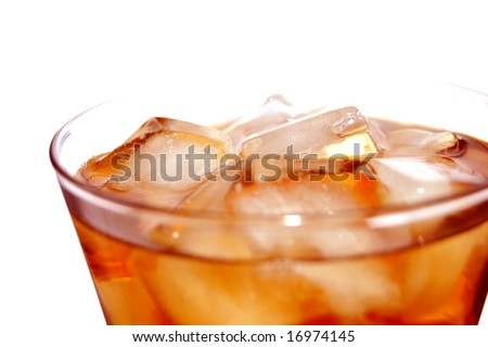 ice filled soft drink isolated on white - stock photo